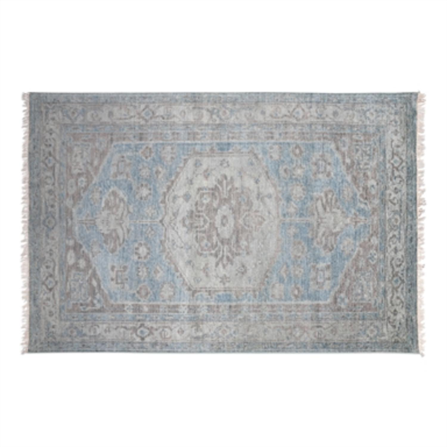 6' x 9' Adana Washed Gray, Sage Green and Beige Hand Knotted Wool Area Throw Rug
