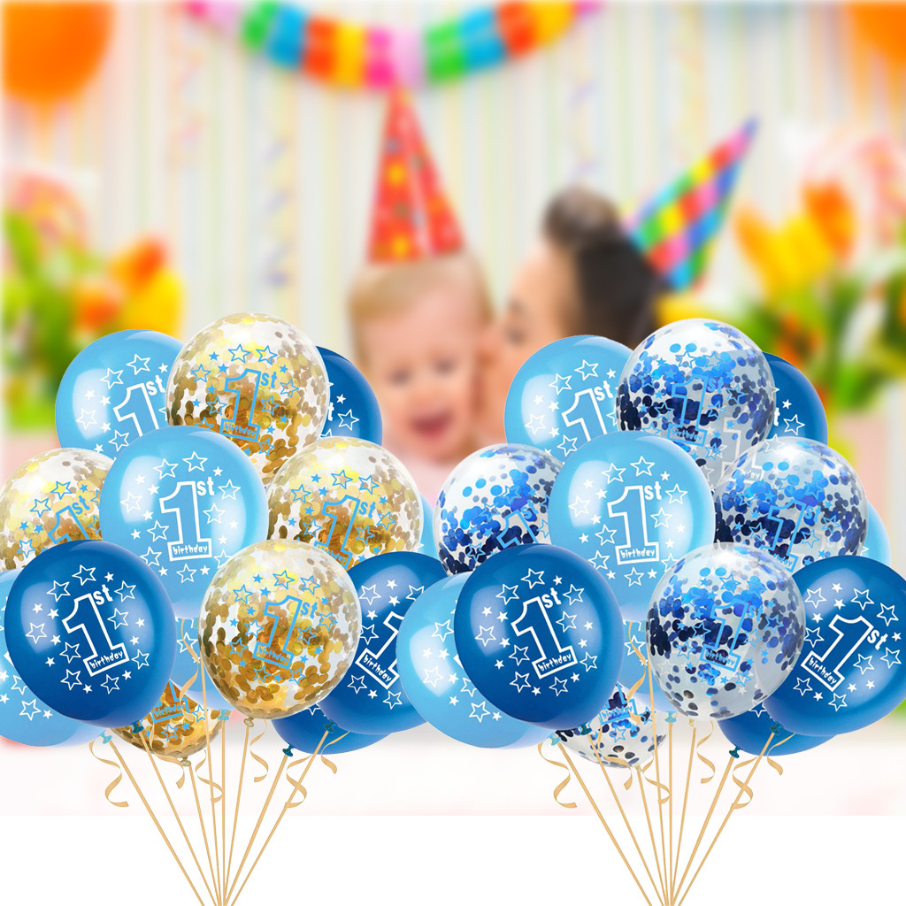 15pcs Foil Confetti Balloons Agate Foil Birthday Christmas Party with Ribbon