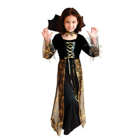Girls' Pretty Spider Dress-Up Costume Set with Collar, L