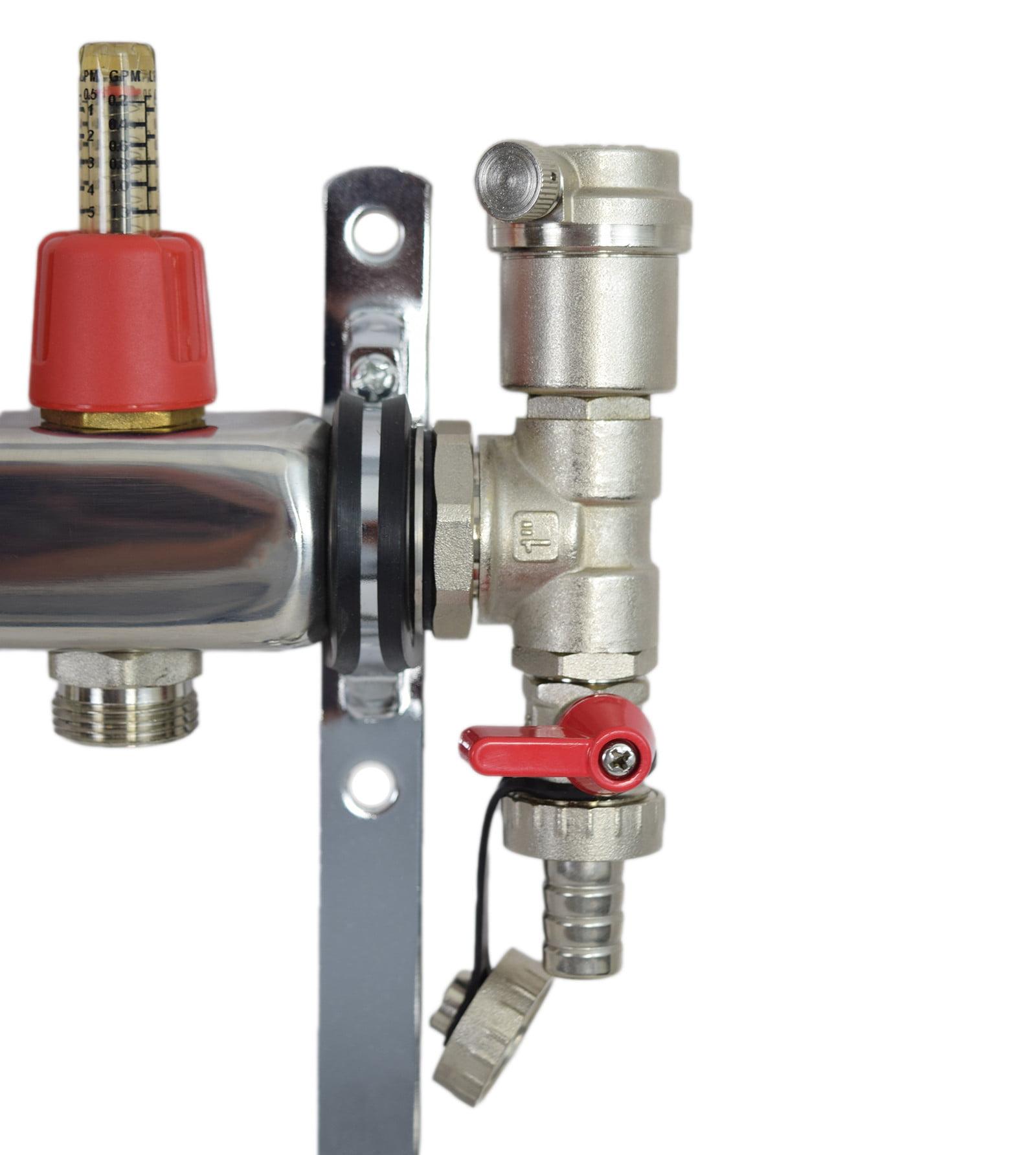 """4 Loop//Branch 1//2/"""" Pex Manifold Stainless Steel Radiant Floor Heating Set//Kit"""