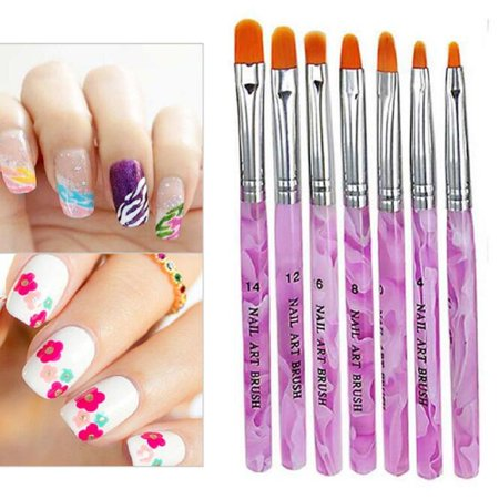 Luxur 7pcs/set UV Gel Nail Art Brush Polish Painting Pen Kit For Salon Manicure DIY](Diy Halloween Nails)