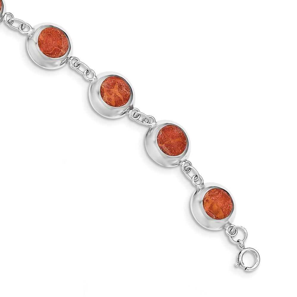 "925 Sterling Silver Polished Round Red Synthetic Coral Bracelet -7"" (7in) by"