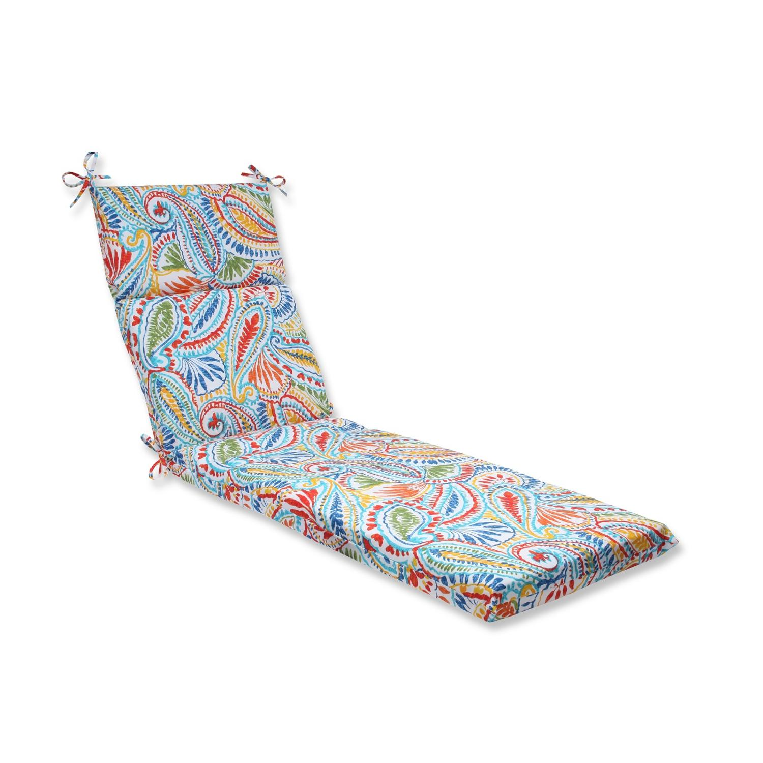 "72.5"" Paisley Burst Outdoor Patio Chaise Lounge Cushion"