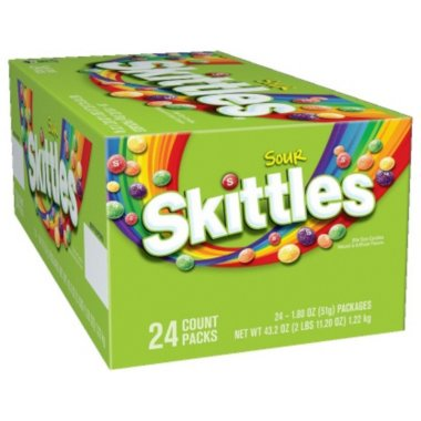 Colorful Candy (Skittles Sour Candy (1.8 oz., 24 pk.) Bite-size, colorful sour chewy candies, Perfect for parties and game-time snacks, Bright, bold colors are great for arts and)