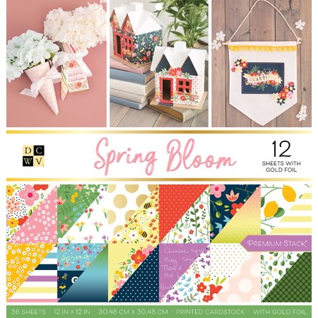 """DCWV Double-Sided Paper Stack 12""""X12"""" 36/Pkg-Spring Bloom, 12 W/Gold Foil"""