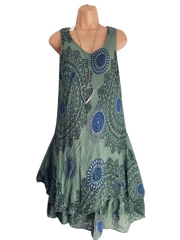 Winoster Winoster Women Plus Size Summer Boho Sleeveless Tunic Swing Dress