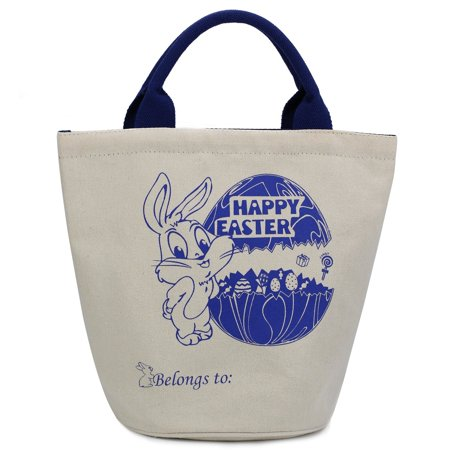 Cylinder Bunny Bag Easter Bag Dual Layer Canvas Bag With Bunny Design Easter Egg Hunt Basket Carrying Eggs Gifts for Bunny Fans Holding Toys Books School Project Lunch Box-Cylinder Bag-B5