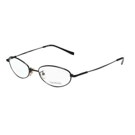 New Vera Wang V01 Womens/Ladies Oval Full-Rim Black Classic Shape Hip Made In Italy Frame Demo Lenses 49-17-135 (Eyeglasses For Oval Face Shape)