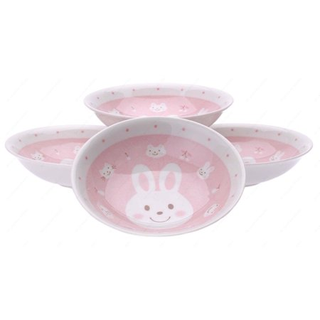 M.V. Trading MV0314A/PK Japanese Round Deep Soup Plate with Rabbit Design, 6½-Inch, PInk, Set of 4