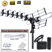 Outdoor 4K HDTV Antenna Up to 200 Mile with Motorized 360 Degree Rotation Design, UHF/VHF/FM Radio with Remote Control plus Installation Kit