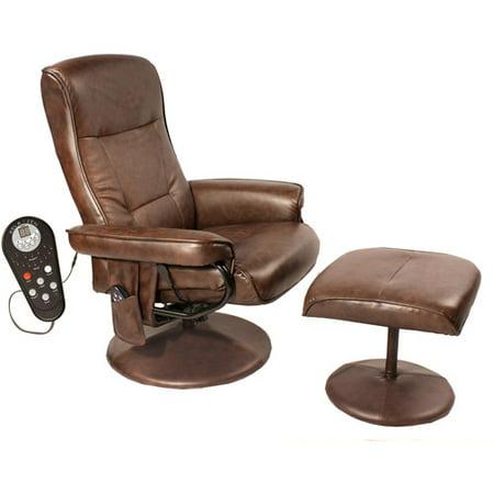 Relaxzen Comfort Soft Reclining Massage Chair and Ottoman, Dark Brown - Relaxzen Comfort Soft Reclining Massage Chair And Ottoman, Dark