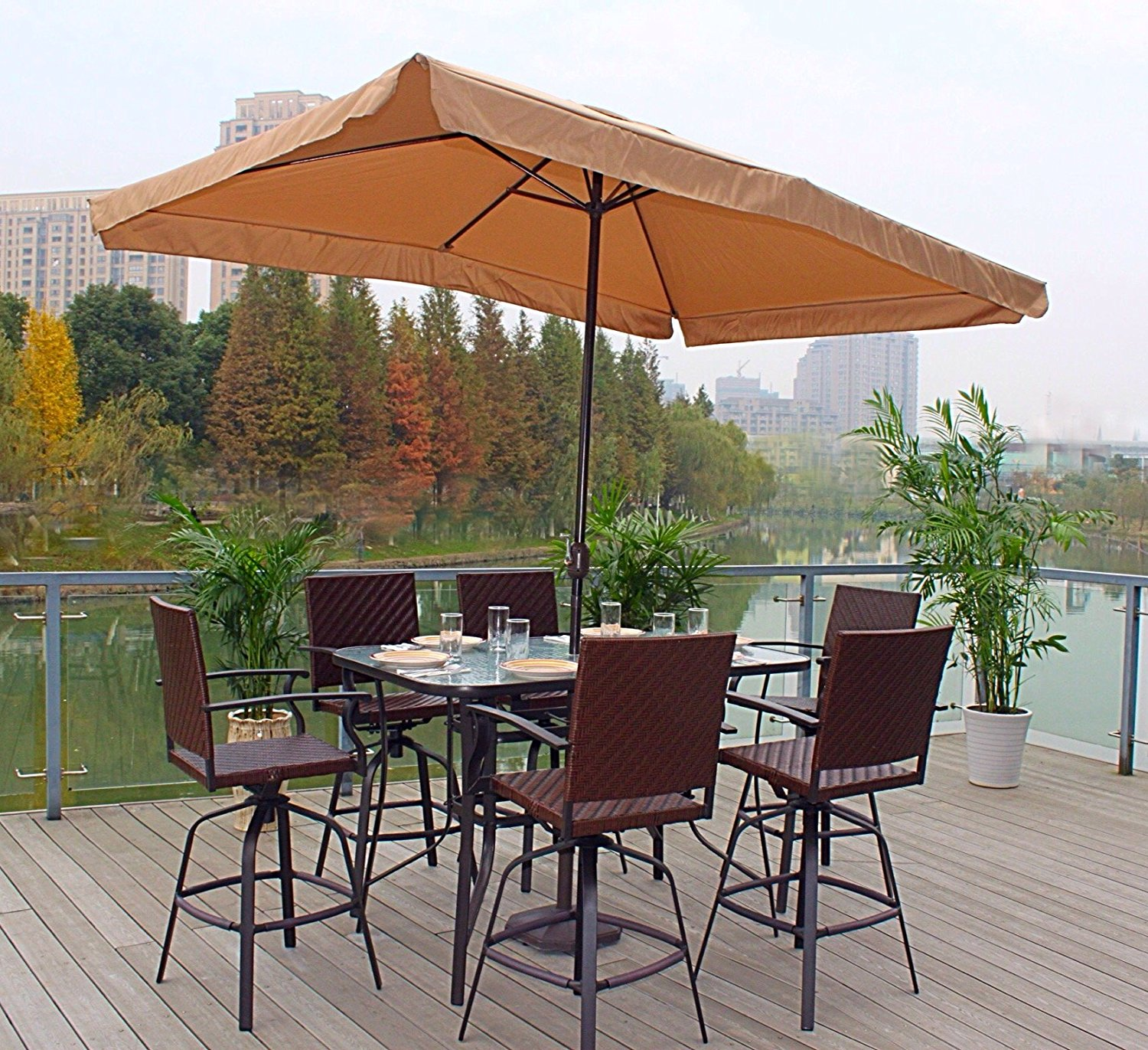 7pc Wicker Swivel  Bar Height Powder-Coated Steel Glass Top Patio Dining Set- Brown With Umbrella (Tan/Java) & Stand