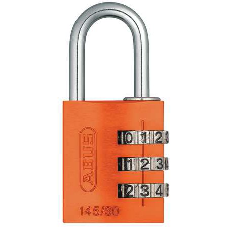 Image of ABUS 145/30 Orange Combination Padlock, Side, Black/Silver G2387183