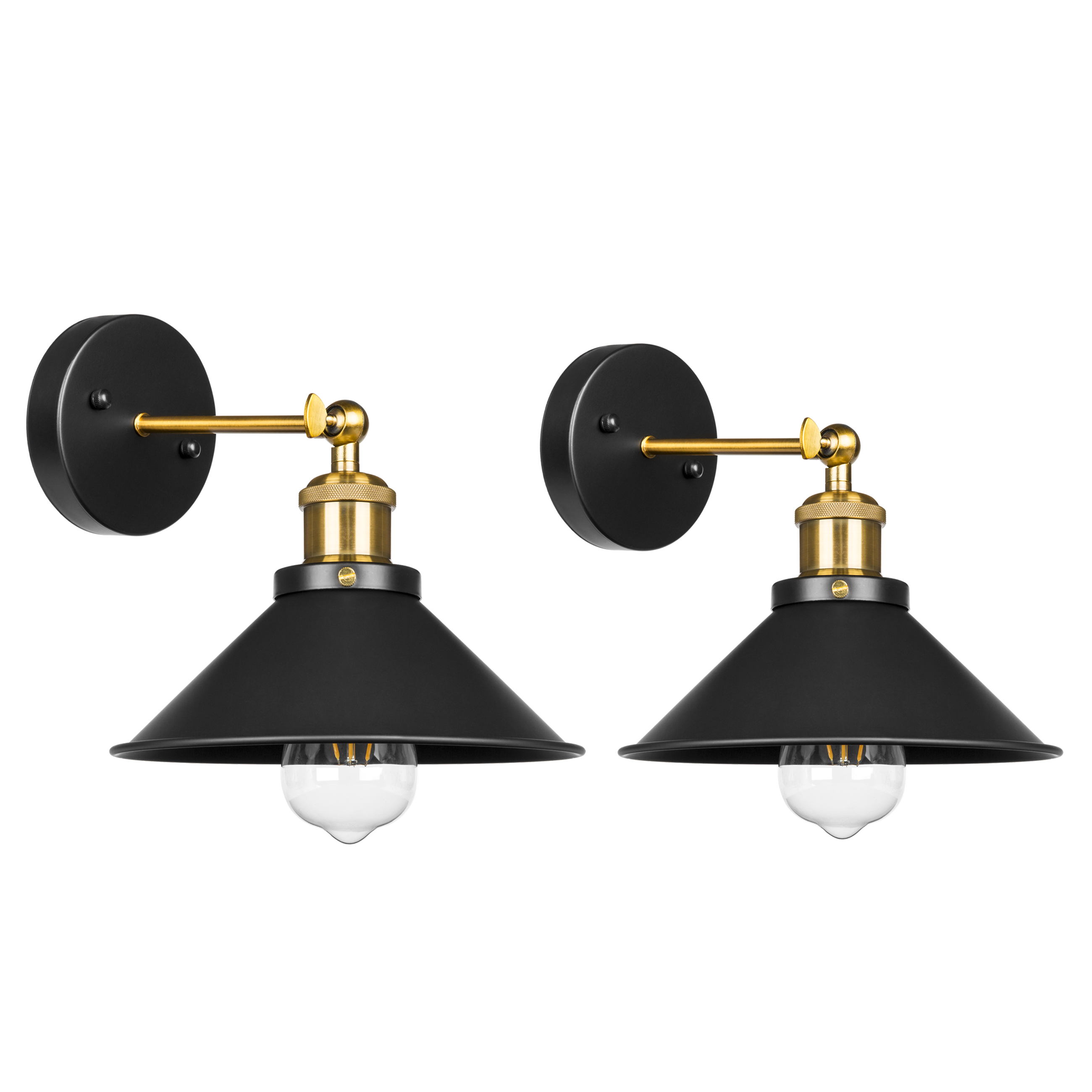 Best Choice Products Set of 2 Industrial Vintage Metal Hardwire Pendant Wall Sconce Lamps w  Adjustable Head Black by Best Choice Products