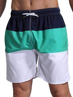 LELINTA Mens Swim Trunks Watershort Swimsuit Board Colorblock Shorts Bathing Suits Elastic Waist Drawstring