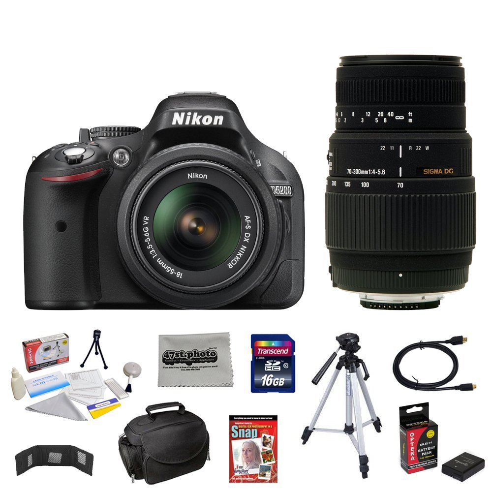 Nikon D5200 24.1 MP CMOS Digital SLR Camera with 18-55mm f/3.5-5.6 AF-S DX VR NIKKOR Zoom Lens + Sigma 70-300mm f/4-5.6 SLD DG Macro Lens + 10 Piece Accessory Bundle.