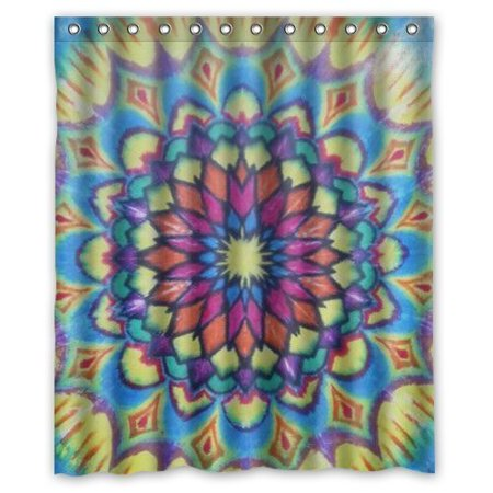 EREHome Novetly Tie Dye Mandala Shower Curtain Polyester Fabric Bathroom Decorative Curtain Size 60x72 Inches - image 1 of 1