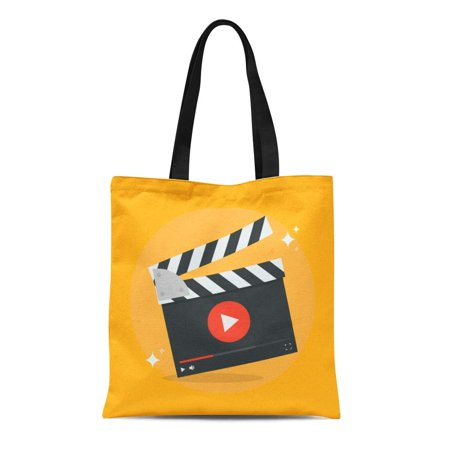 ASHLEIGH Canvas Tote Bag Clapper Film Production Movie in Flat From the Video Durable Reusable Shopping Shoulder Grocery Bag (Run Bag Video Production Accessory)
