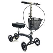 BodyMed Folding Knee Scooter With Dual Braking System and Basket - - Great Alternative To Crutches - Broken Leg Walker -