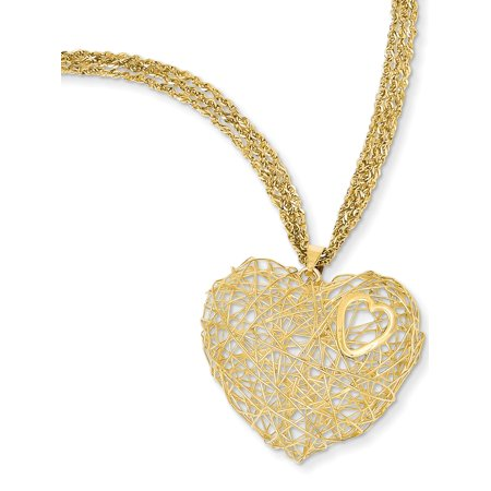 Triple Strand Leather - 14K Adjustable Triple Strand Heart Necklace SF1705