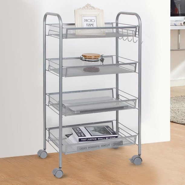 SEGMART 4-Tier Utility Cart Mesh Rolling Storage Cart ...