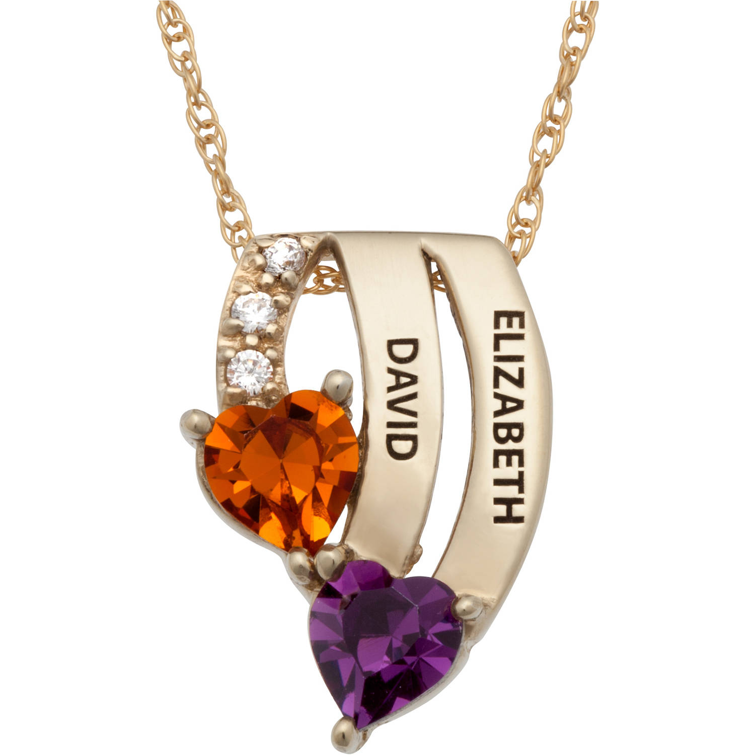 Personalized Women's Gold over Silver Couples Cascading Name & Birthstone Hearts Pendant