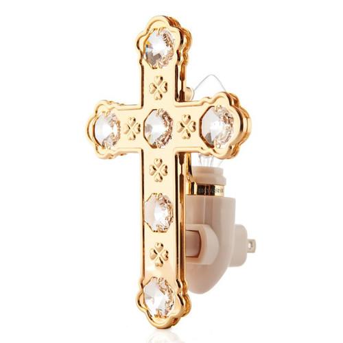 Matashi Crystal 24K Gold Plated Cross Night Light