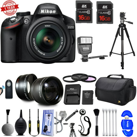 Nikon D3200 Digital SLR Camera with 18-55mm AF-P VR Lens Kit w/ 32GB Supreme Bundle (Nikon Cameras D3200)