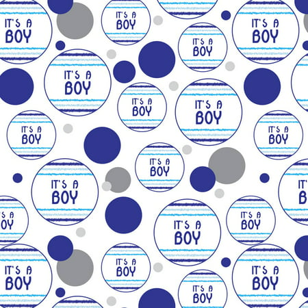 It's a Boy Blue Baby Shower Premium Gift Wrap Wrapping Paper Roll Pattern