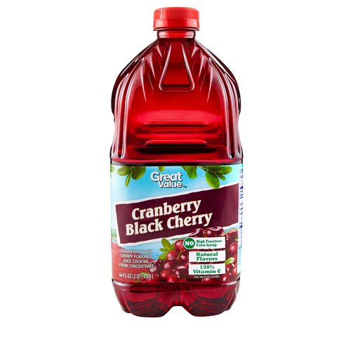 Great Value Cranberry Black Cherry Flavored Juice Cocktail, 64 fl oz