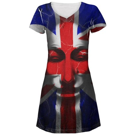Guy Fawkes Day Union Jack Distressed British Flag Mask Juniors Beach Cover-Up Dress - Ups Guy