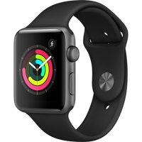 Refurbished Apple Watch Gen 3 Series 3 42mm Space Gray Aluminum - Black Sport Band MQL12LL/A