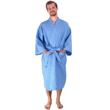Men/Women's 100% Cotton Waffle Weave White Spa Robe, Sky Blue (White Waffle Robe)