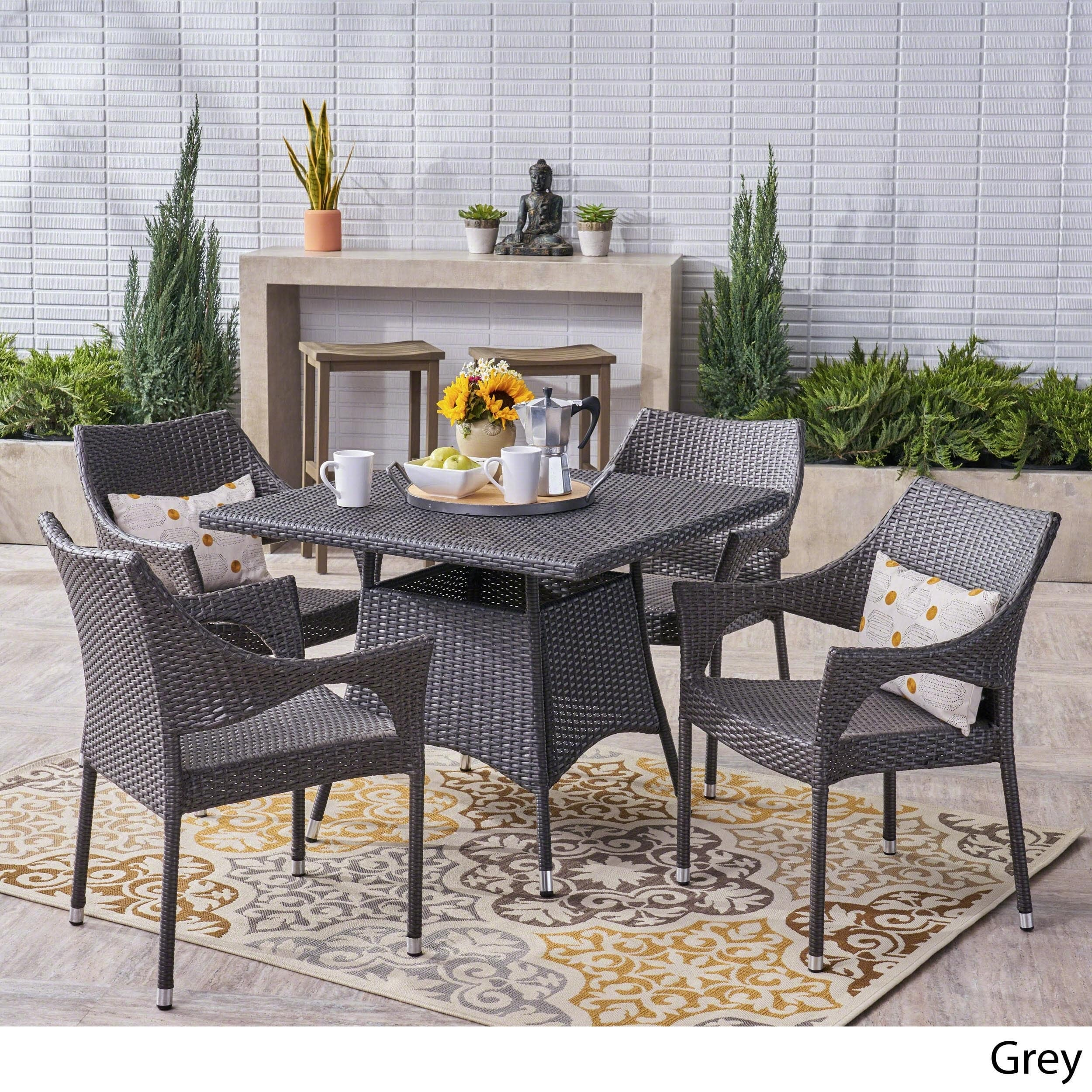 Christopher Knight Home Arden Outdoor 5-piece Wicker Dining Set by
