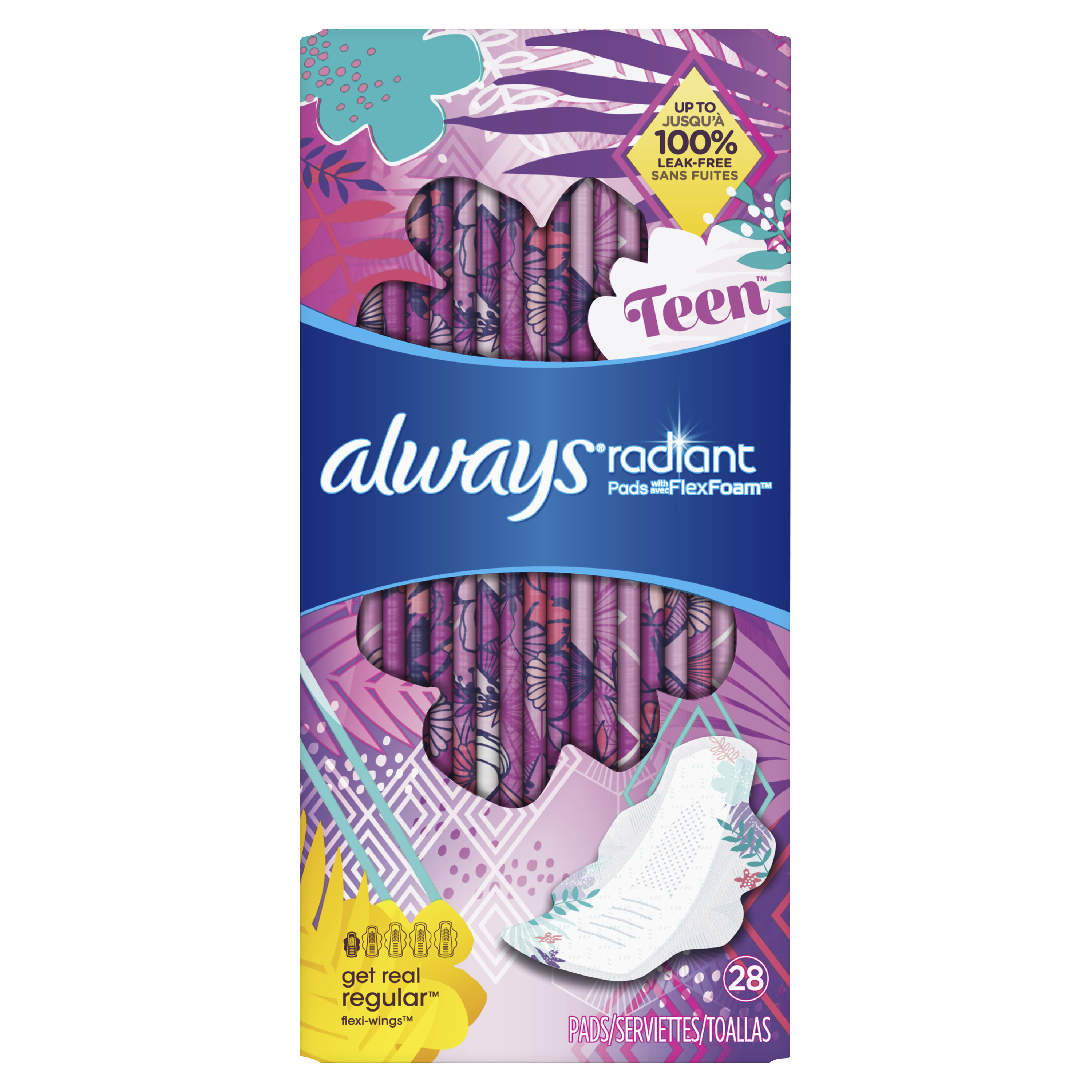 Always Radiant Teen Pads, Unscented, Get Real Regular, 28 Count