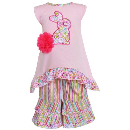 AnnLoren Girls Pink Easter Bunny High Low and Striped Capri Outfit - Bugs Bunny Outfit