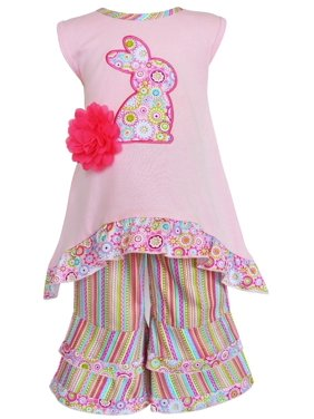 c524141455f9 Product Image AnnLoren Girls Pink Easter Bunny High Low and Striped Capri  Outfit