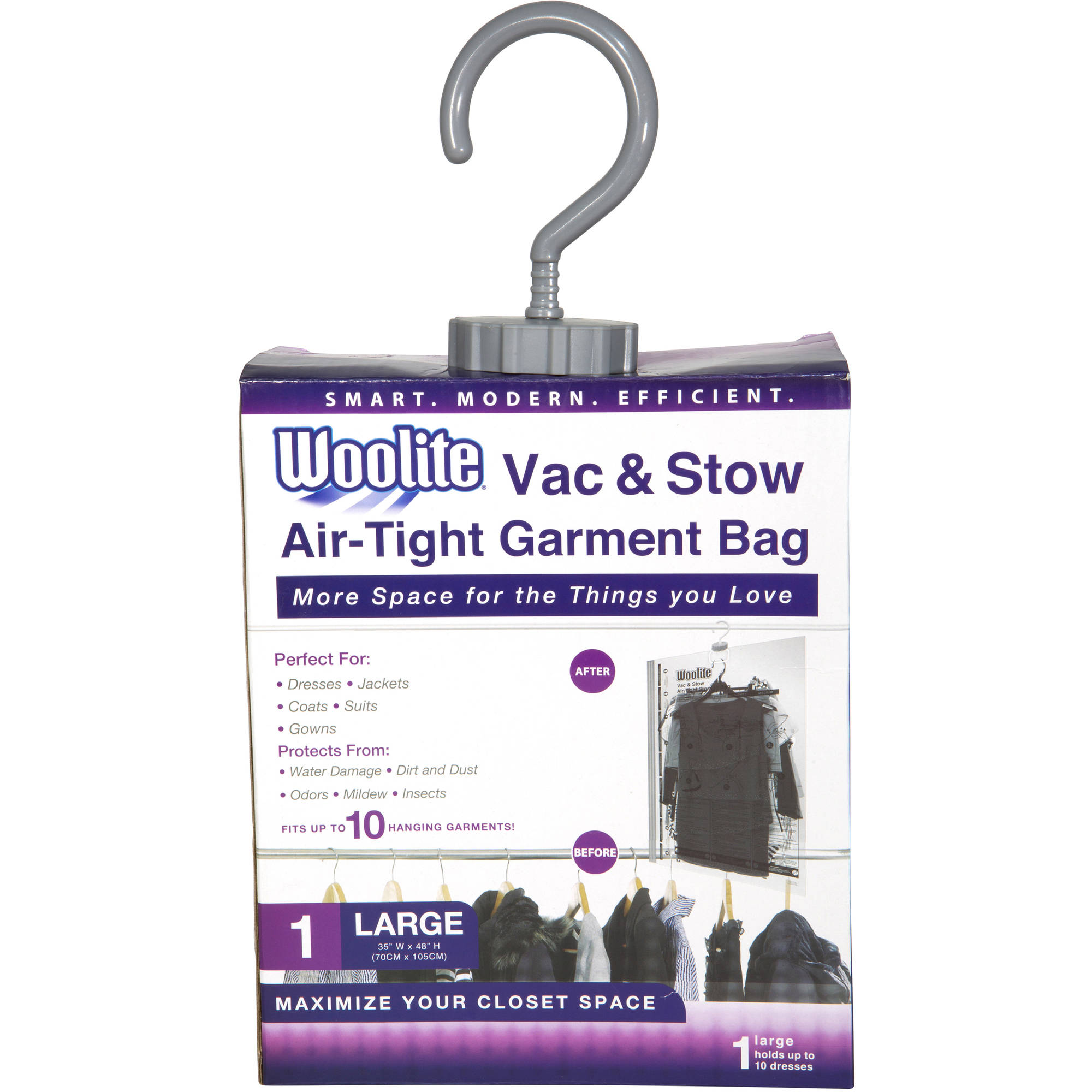 "Woolite 1-Piece Hanging Vacuum Storage Bag, 41"" x 27.5"""