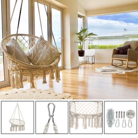 Mesh Woven Rope Macrame Hanging Hammock Wooden Bar Chair Swing Outdoor Home Garden Patio Chair Seat + Install Tool