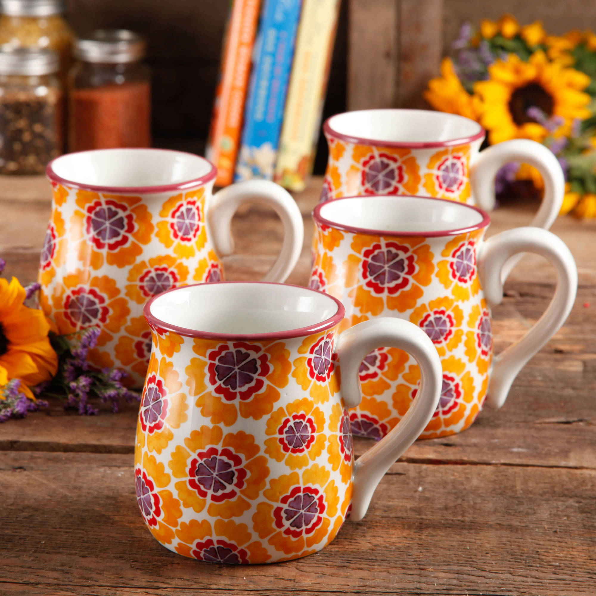 Pioneer Woman Flea Market 15 oz Decorated Belly Coffee Cup, Set of Four