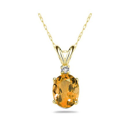 6X4mm Oval Citrine and Diamond Stud Pendant in 14K Yellow Gold