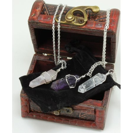 Three Wire Wrapped Crystal Point Pendant Necklaces, Amethyst, Rose Quartz, and Clear Quartz, all in a Velvet Pouch, packaged in Treasure Chest Pirate Box, Valentine's Day gift, Dancing Bear Brand. - Diy Valentine Box