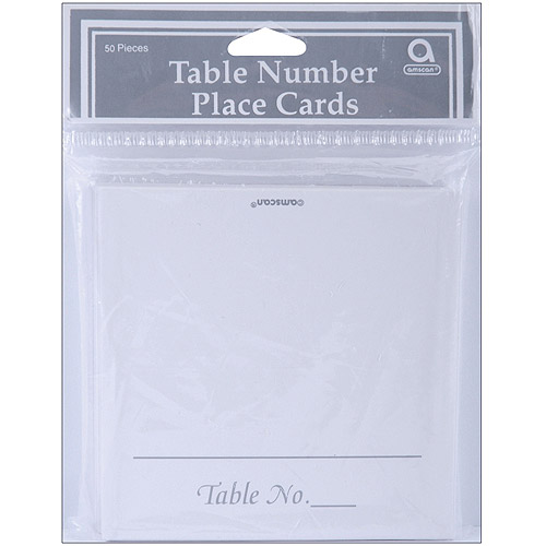 """Place Cards, 50-Pack, White with Silver, 3.5"""" x 1.75"""""""