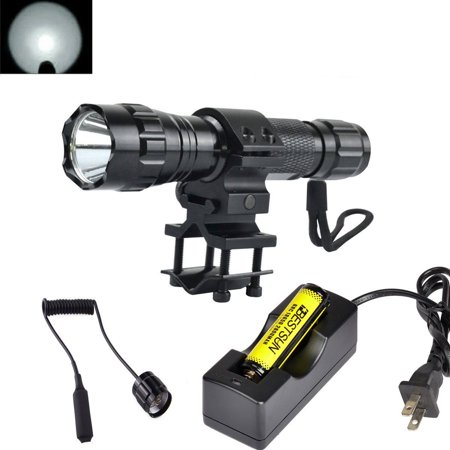 BESTSUN Super Bright Tactical Flashlight WF-501B Cree Xm-L2 LED 1200 Lumens 1 Mode Hunting Light Lamp Torch Set with Pressure Tail Switch, Barrel Mount for AR, 18650 Rechargeable Battery and