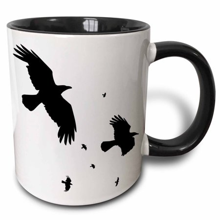 3dRose A Murder of Crows- animal, bird, birds, crow, halloween, myth, mythological, mythology, silhouette, Two Tone Black Mug, 11oz for $<!---->