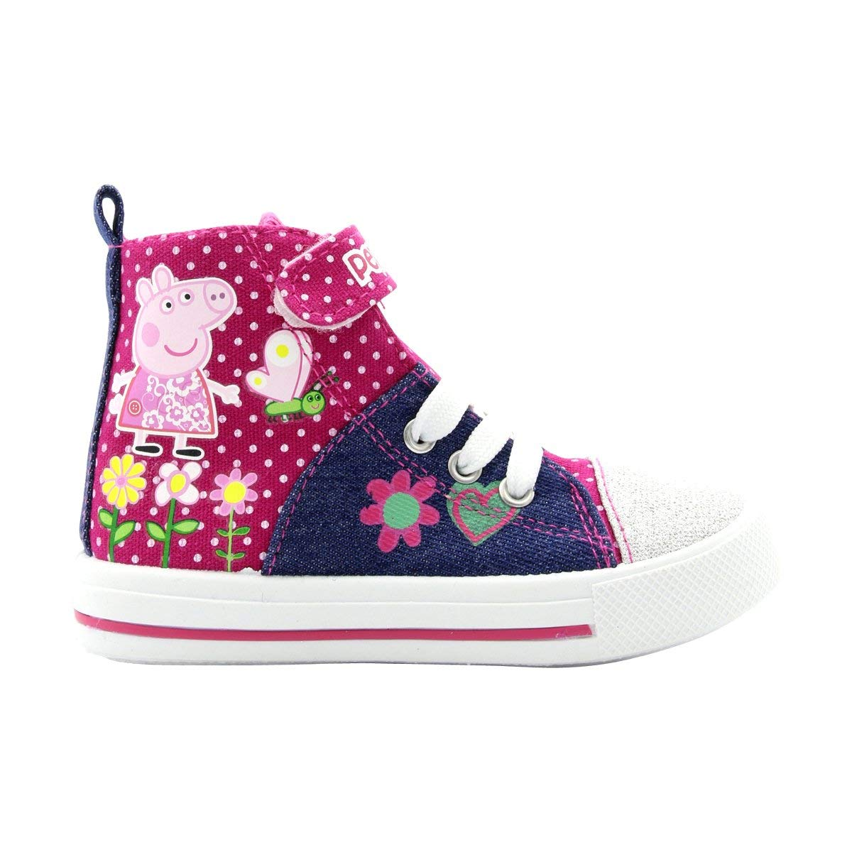 Peppa Pig Girls' Denim and Pink Toddler High Top Sneakers, Sizes 7, 8, 9, 10