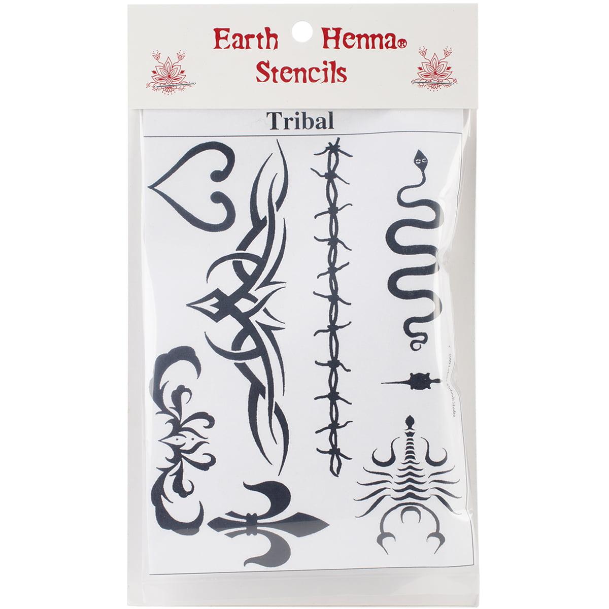 Earth Henna SPLS-TRIBL Stencil Transfer Pack, Tribal Multi-Colored