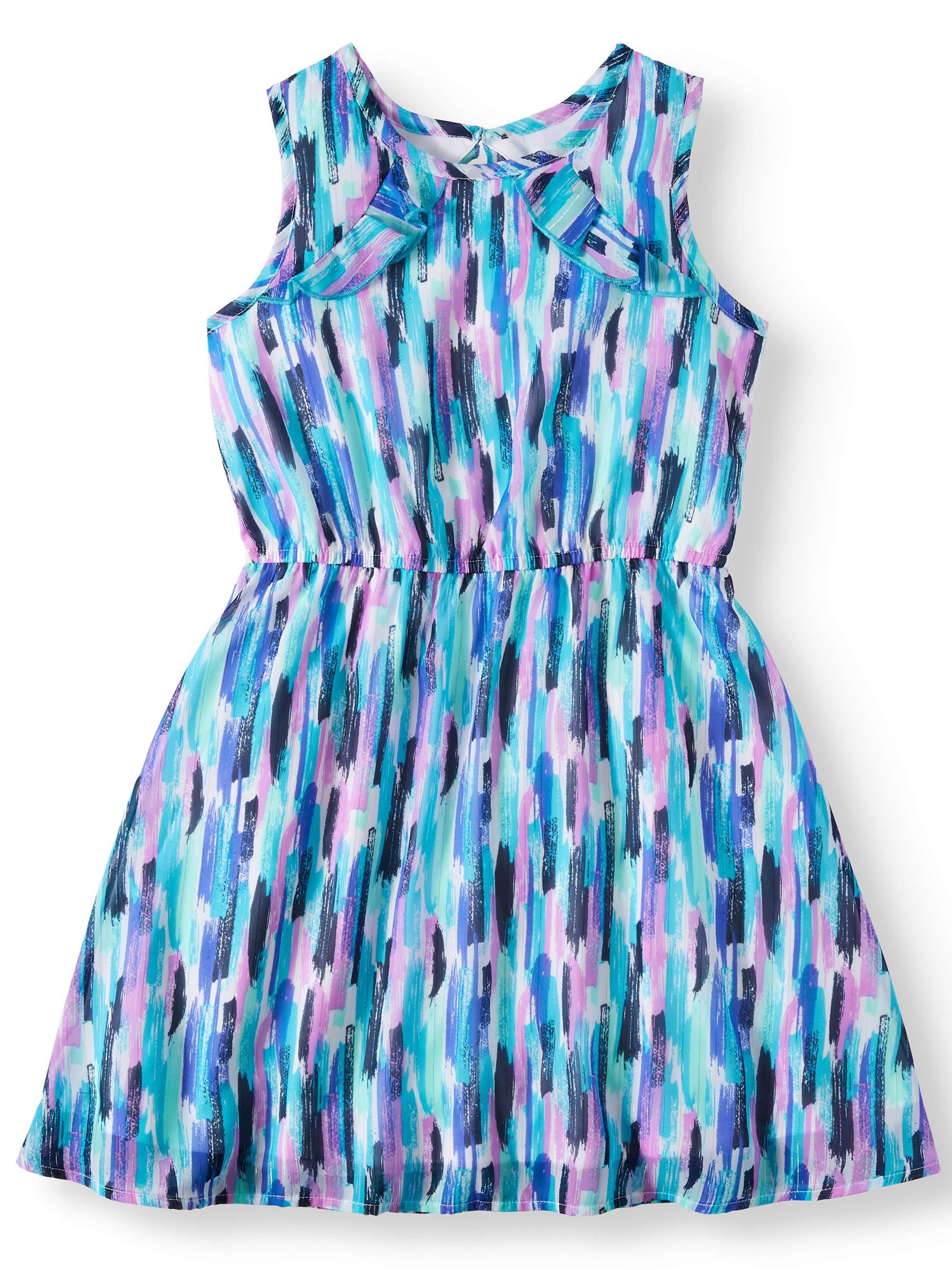 Girls' Lurex Chiffon Printed Dress