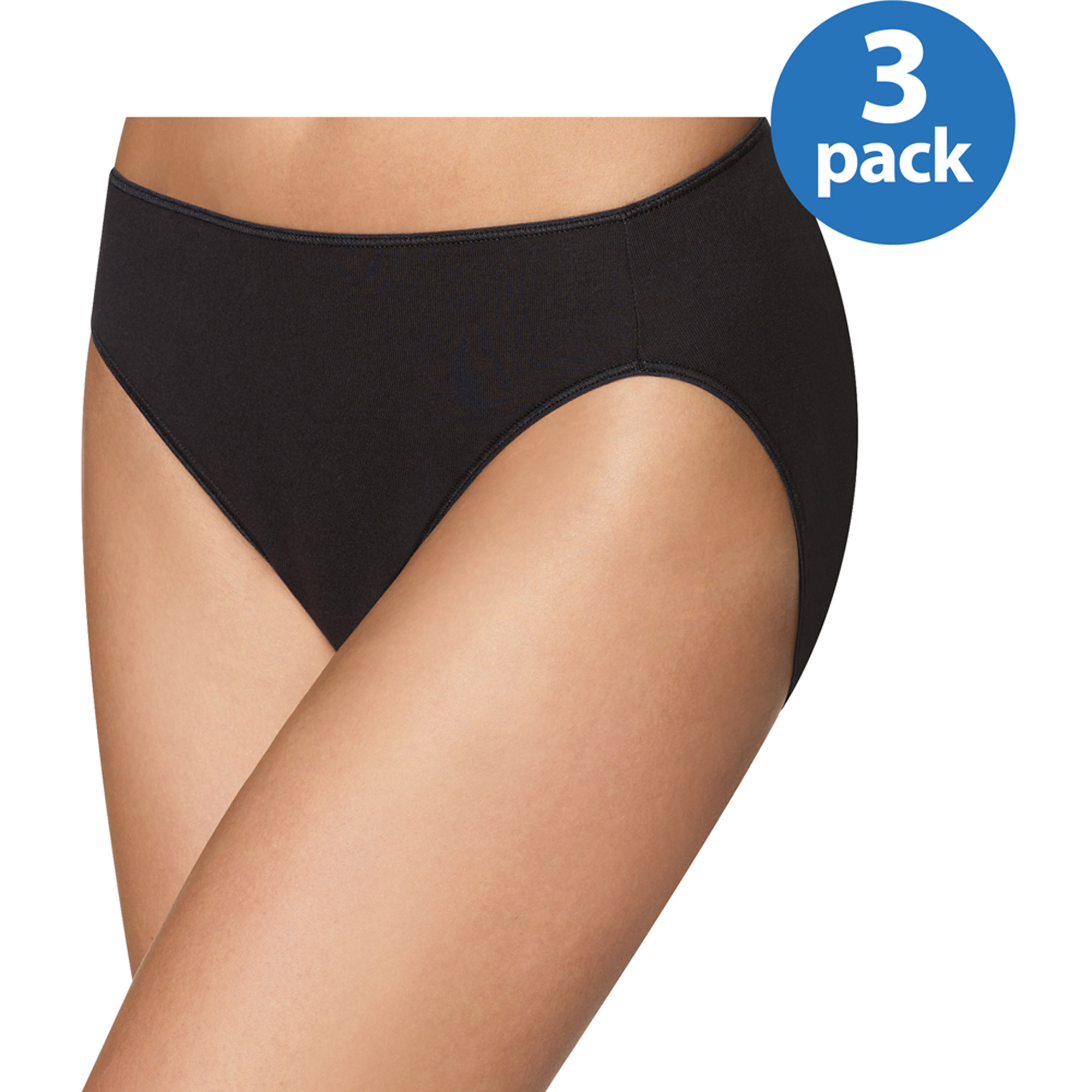 Hanes Women's Smooth Illusions Hi Cut Panties 3 Pack