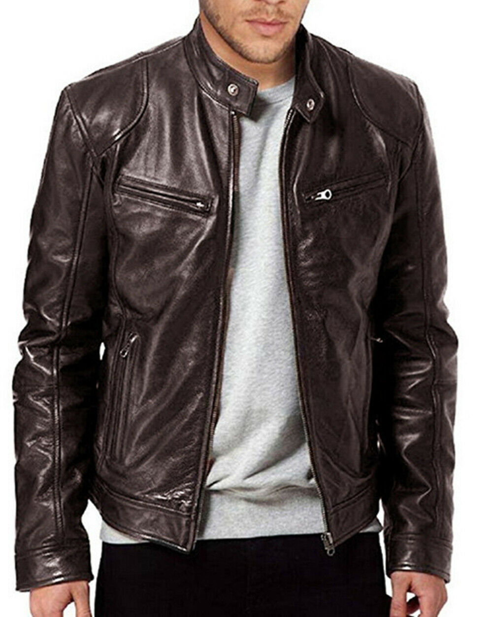 Mens Autumn  Coat Leather Jacket Street Style Cool Motorcycle Outwear